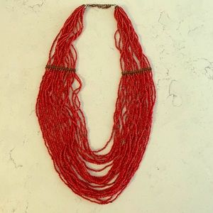 Jewelry - Gorgeous red beaded layered multistrand necklace